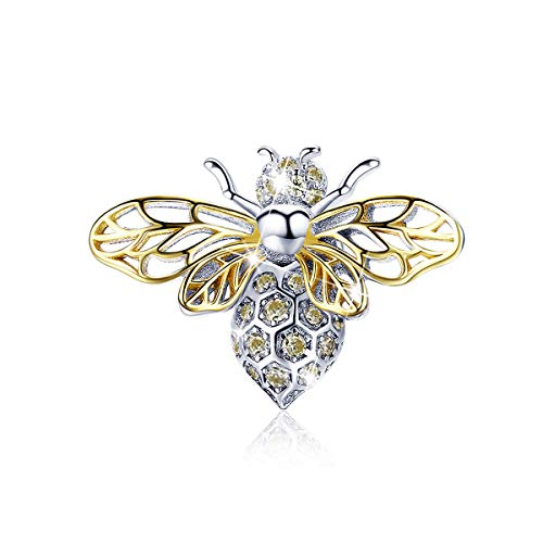 BAMOER Rose Gold Bee Charm 925 Sterling Silver Animal Crystal Queen Bee Charm for DIY Snake Chain Bracelet Women Gift ()