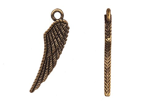 Drops/Charms, Crosshatch Wing Antique-Gold Finished 27X7mm sold per 6pcs/pack (4packs bundle), SAVE $3