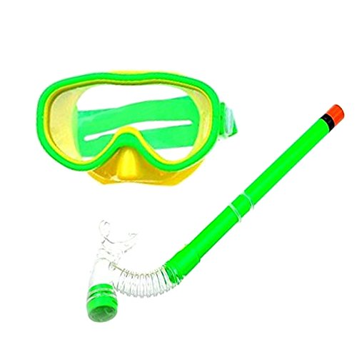 Smolisi Kids Youth Water Sports Silicone Scuba Swimming Swim Diving Mask Snorkel Glasses Anti Fog Goggles Set(Green)