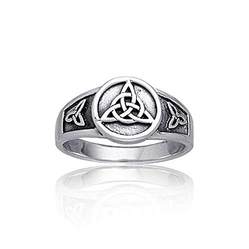 Trinity Knot Ring - Viking Celtic Trinity Knot Triquetra Ring Signet Ring For Women For Men Oxidized 925 Sterling Silver