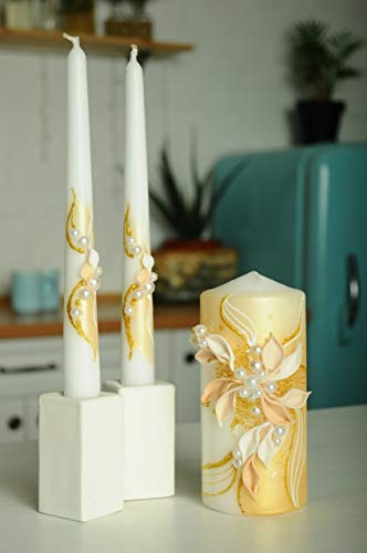 Decorate Unity Candles - Magik Life Unity Candle Set for Wedding - Wedding décor & Wedding Accessories - Candle Sets - 6 Inch Pillar and 2 10 Inch Tapers - Best Unity Candle- Gold