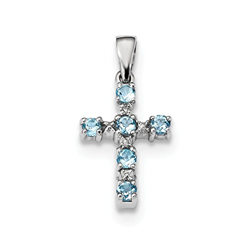 ICE CARATS 925 Sterling Silver Swiss Blue Topaz Cross Religious Diamond Pendant Charm Necklace Fine Jewelry Ideal Gifts For Women Gift Set From (Diamond 925 Sterling Silver Cross)