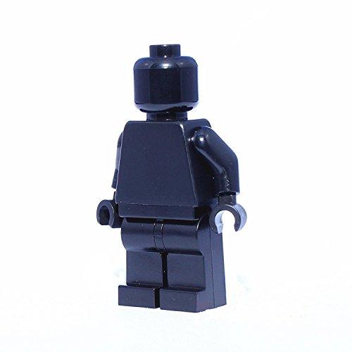 - LEGO Minifigure Plain All Black Monochrome Head Torso Arms Hands Legs Body