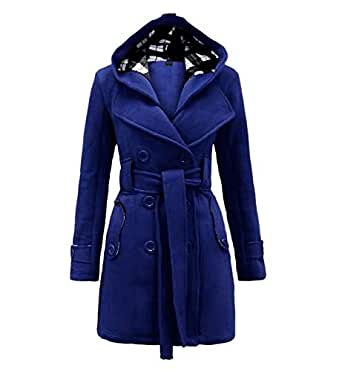 Hooded Vintage Women Coat Winter Belt Long Thick Overcoat Slim Plain Warm Casual Button Pocket Black Wool Coats mm