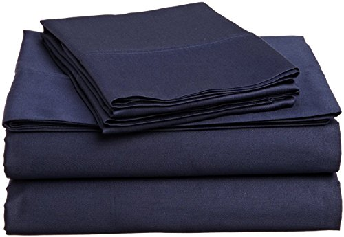 By-Rajlinen Navy Blue Solid 4 Pcs Sheet Set Queen Size 15 Inch Deep Pocket Egyptian Cotton 600-Thread-Count