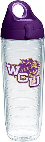 Tervis 1231291 Western Carolina Catamounts Logo Insulated Tumbler with Emblem and Purple Lid, 24oz Water Bottle, Clear ()