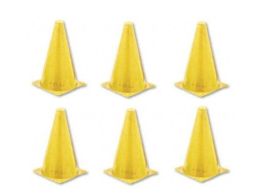 Champion Sports 9 Inch Colored Cones All Yellow - Set of 6