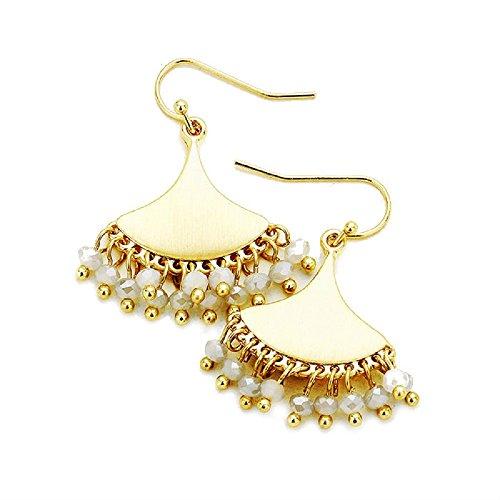 - Women's Worn Gold Tone Geo Metal Disc Faceted Grey Bead Fringe Earrings, 0.9