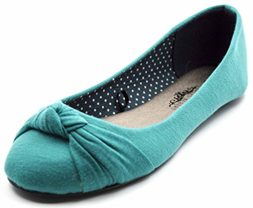 Charles Albert Women's Knotted Slip on Ballet Flats in Turquoise Size: -