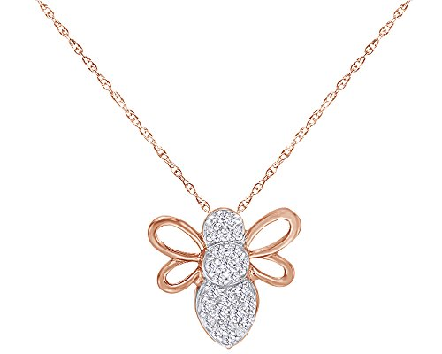 1/10 CT Round Cut White Natural Diamond Bee Pendant Necklace in 10K Solid Rose Gold