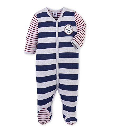 Petit Bateau Baby Boys' Front Snap Striped Footie with Logo, Navy Gray Newborn