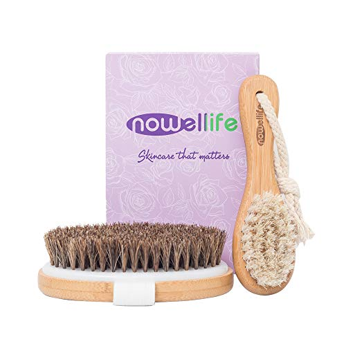 Dry Brush Set for Body and Face: Bamboo Body Scrubber Bath Brush for Dry and Wet Brushing, Facial Dry Brush, How to Guide - Horse Bristles Best for Dry Skin, ()