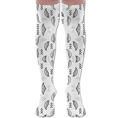 DFAUHAL Feather Sketch Grey and Black Fabric (6005) Knee High Graduated Compression Socks for Unisex - Best Medical, Nursing, Travel & Flight Socks - Running & Fitness