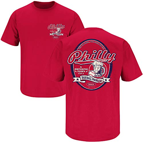 - Philadelphia Baseball Fans. Philly Drinking Town Red T-Shirt (Sm-5X) (Short Sleeve, X-Large)
