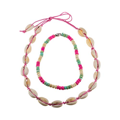 BlueRica 2 Piece Necklace & Anklet Set ~ Cowrie Choker with Pink Coconut Beads -