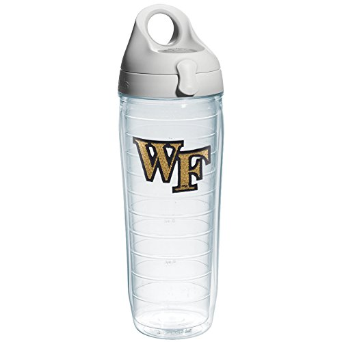 Tervis Wake Forest Emblem Individual Water Bottle with Gray Lid, 24 oz, Clear
