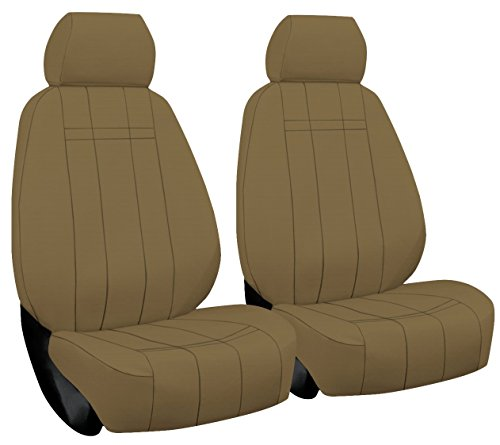 Front Seats: ShearComfort Custom Waterproof Cordura Seat Covers for Nissan Frontier (2010-2019) in Tan for Buckets w/Adjustable Headrests (Models w/Factory Leather Seats)