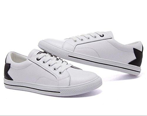 Scarpe Women 's YCMDM cuoio genuino Spell scarpe Tie Lace Tempo libero Piccolo piatto bianco Scarpe comode scarpe rotonde singoli pattini , white black , 38