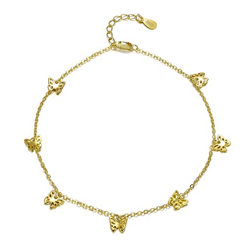 (PEIMKO 14k Yellow Gold Plated Butterfly Anklet, Sterling Silver Anklet Bracelet for Women Teen Girls Back to School Silver Foot Jewelry)