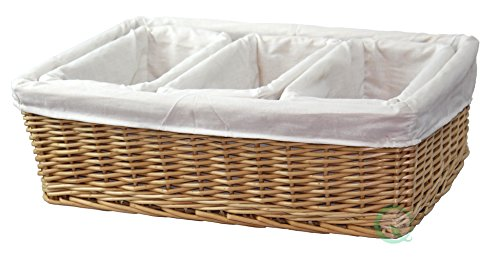 Vintiquewise(TM) Willow Baskets with Fabric Lining, Set of 4 (Wicker Chest Storage Uk)