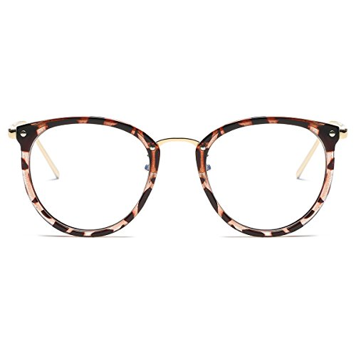 Price comparison product image Amomoma Womens Fashion Clear Lens Round Frame Eye Glasses AM5001 Leopard Frame/Clear Lens