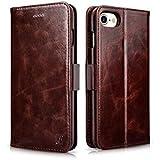 【正規品】iCARER iPhone7 4.7インチ用 本革 ビンテージ オイル ワックス レザー ケース カード入付 財布一体型 手帳型 分離可能 2in1 本革ケース 4機種、2カラー選択 (iPhone 7 4.7インチ, コーヒー)