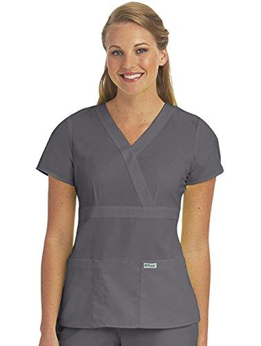 Grey's Anatomy Junior's 3 Pocket Mock Wrap Scrub Top Nickel XXXXX-Large (Apparel Nickel Grey)