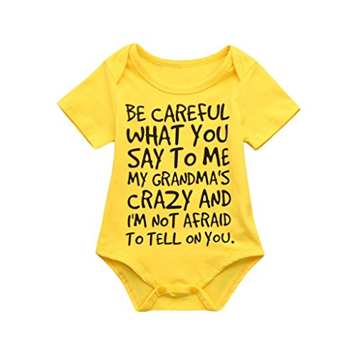Clearance Sale 0-24 Months Newborn Infant Baby Kids Girl Boy Letter Print Romper Jumpsuit Sunsuit Outfits Clothes (Yellow, 6-12 Months)