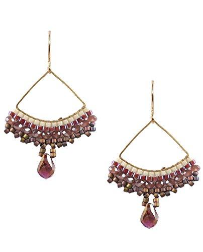 Women's Metal Triangle Glass Bead Dangle Pierced Earrings, Purple/Gold-Tone -