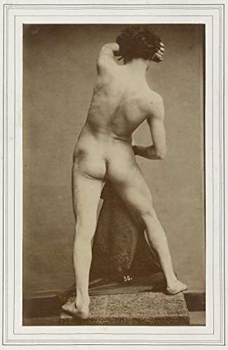 """Classic Art Poster - Male academic nude, seen from the back, Gaudenzio Marconi, c. 1870 - c. 1880 16"""" x 24"""""""