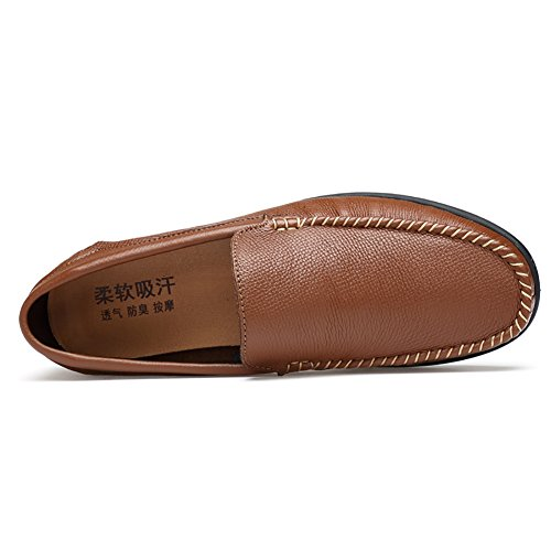 Loafers Slip Men's On Tan Driving Leather Shoes Insun TXgqw