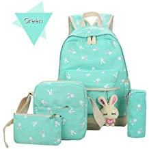 Backpack,Caveen Cute Funny Canvas School Bag Back to School Backpack Shoulder Bag(5 piece set) for Kids/ Girls/Boys/Teenagers
