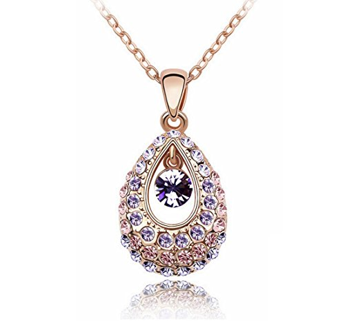 KATGI Austrian Crystal Angel Teardrop Pendant Necklace (Gold Plated (Austrian Crystal Oval Necklace)