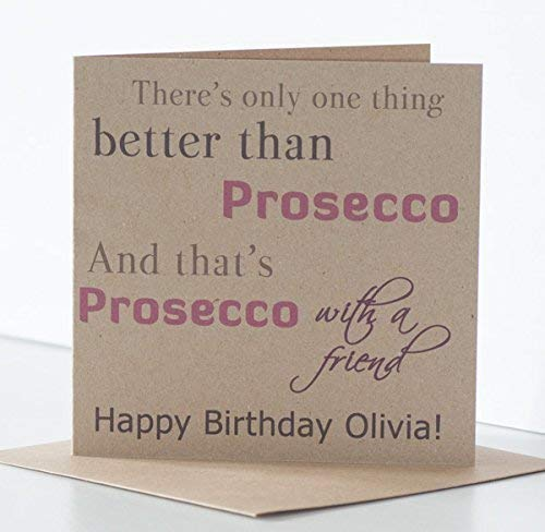 Prosecco Birthday Cards For Women Special Friend Or Best Rustic Personalised Card Amazoncouk Handmade