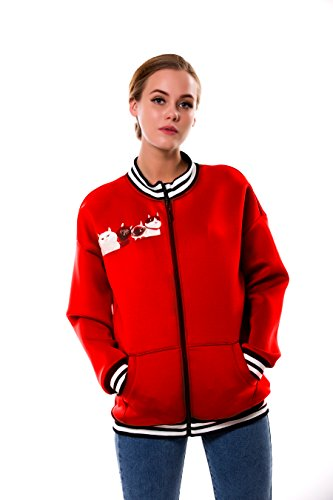 BaronHong Women's Plus Size Designer Impreso Casual Chaqueta de béisbol con cremallera Rojo