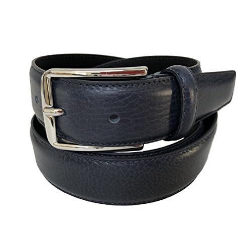 Cinturón hombre Azul de cuero genuino Made in Italy 35mm El servicio durable 8d72d17a4a5a