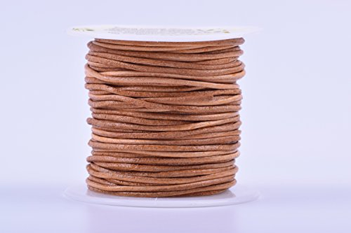 KONMAY 1 Roll 25 Yards 1.5mm Natural Color Soft Round Real Jewelry Leather - Leather Real Jewelry Cord