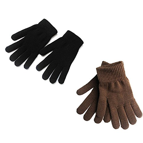 Mellons Unisex Winter Knit Classic Solid Color Gloves (One Size, Black & Coffee)