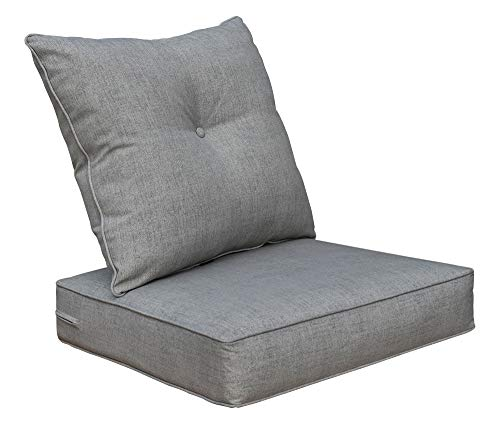 BOSSIMA Cushions for Patio Furniture, Outdoor Water Repellent Fabric, Deep Seat Pillow and High Back Design,Sliver/Light Grey