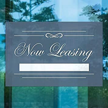 Now Leasing Classic Navy Window Cling CGSignLab 5-Pack 18x12
