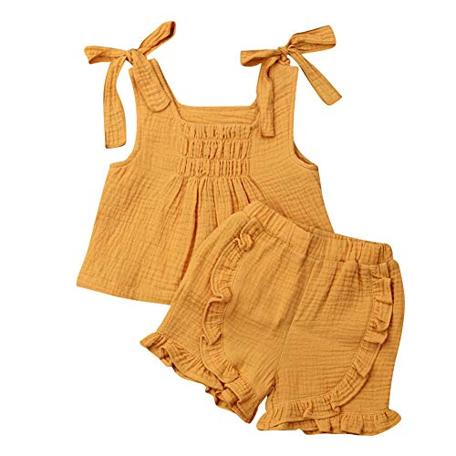 - Baby Girls Cotton Linen Blend Straps Top and Bubble Shorts Ruffle Outfit Set (2T, Yellow)