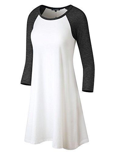 FACA Womens Baseball 3/4 Raglan Sleeve Jersey Tunic Dress (Small, Off White/Charcoal (Baseball Jersey Dresses)