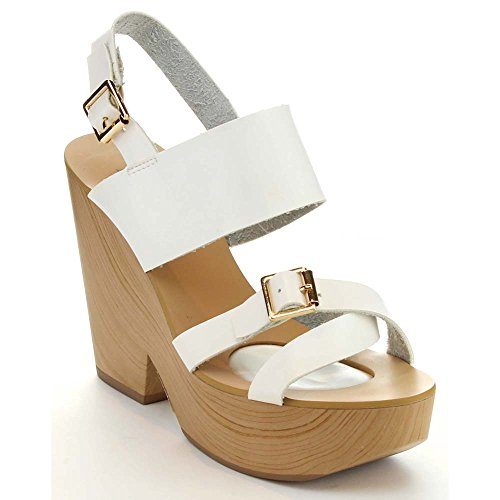Criss Faux Sandals 1 Wood Marie Heel 7 WHITE Slingback Bella Cross Tara Womens Chunky pI0Fx