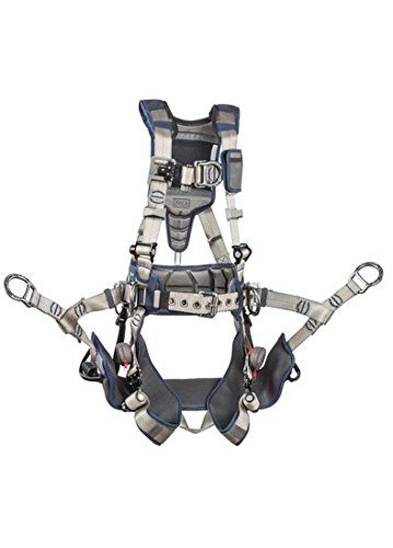 3M DBI-SALA 1112581 ExoFit STRATA, Aluminum 4 D-Rings, Tri-Lock Revolver QC Buckles with Sewn in Hip Pad & Belt, Medium, Blue/Gray