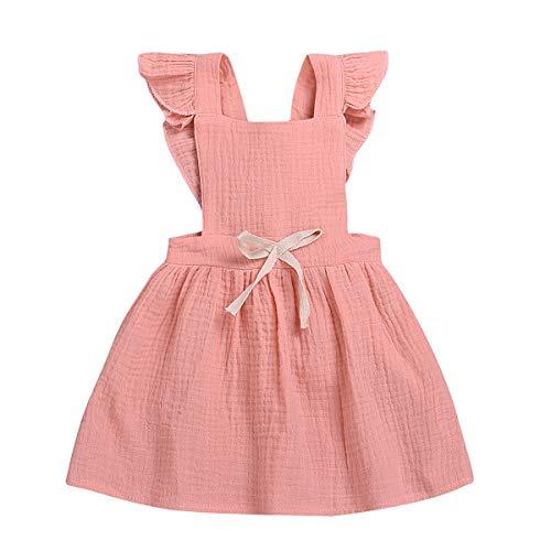 (WISWELL Newborn Baby Girl Dress Cotton Flutter Sleeve One-Piece Linen Skirt Outfits Clothes (Pink, 12-24 Months))