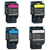 Replacement Lexmark C540N Set of 4 Laser Toner Cartridges (1 Black, 1 Cyan, 1 Magenta, 1 Yellow)