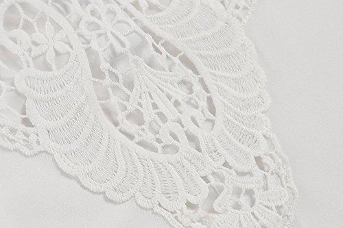 Bianco All'uncinetto Camicia Cava Bikini Up Copertina Donne Naggoo Patchwork Pizzi Chiffon Delle cqTZrPTWS