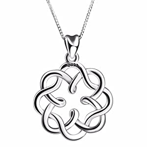 ANGEMIEL 925 Sterling Silver Irish Infinity Endless Love Celtic Knot Vintage Pendant Necklaces for Women, Box Chain 18″