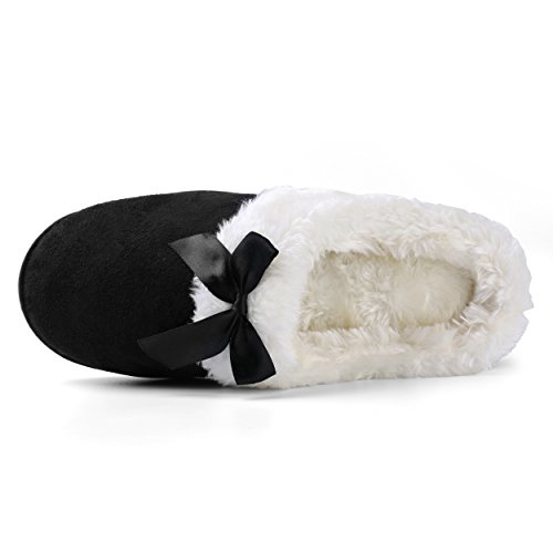 Aerusi Mujeres Micro Suede Felpa Forro Polar Forrado Con Espuma De Memoria Slip On Zueco Houser Slipper Negro