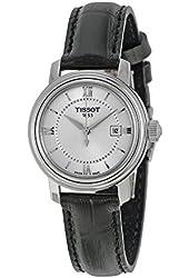 Tissot Bridgeport Quartz Silver Dial Black Leather Ladies Watch T0970101603800